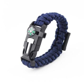 Paracord Survival Bracelet with Bottle Opener, Hiking Scraper, Emergency Whistle, Compass, Fire Starter