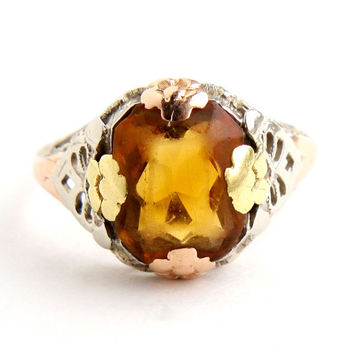 Antique 10k Yellow, Rose, & White Gold Art Deco Ring - Size 6 Vintage Yellow Orange Citrine Filigree Fine Jewelry / Floral Prongs