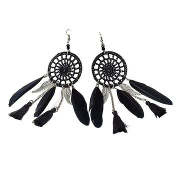 New Bohemia Feather Beads Long Design Dream Catcher Earrings for Women Jewelry