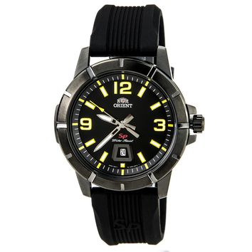Orient UNE900BB Men's SP Black IP Steel Yellow Accent Black Dial Rubber Strap Watch