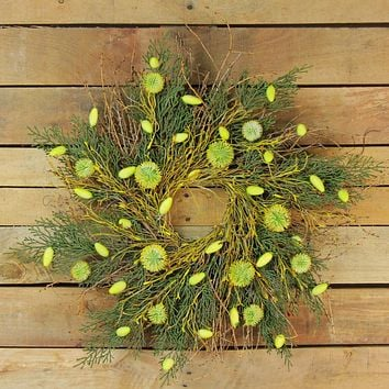 """20.5"""" Yellow  Green and Brown Twig and Cedar Spring Floral Wreath"""