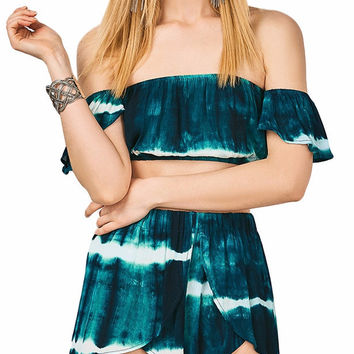 Tie Dye Off The Shoulder Crop Top Shorts Matching Set