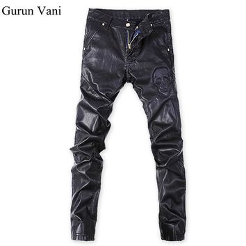 New Men's Skinny Leather Pants Skull Pattern Motorcycle Faux Leather Elasticity Brand Sweatpants Jeans Free Shipping