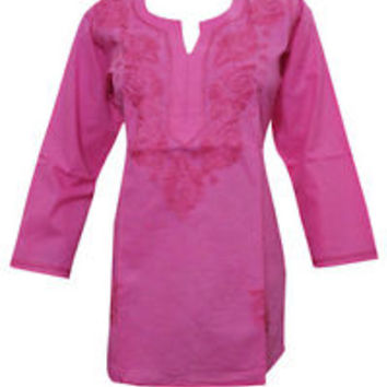 WOMEN'S TUNIC KURTI PINK FLORAL EMBROIDERED COTTON PEASANT KURTI DRESS