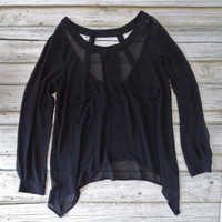 Asymmetrical Hem Pocket Blouse - Black | .H.C.B.