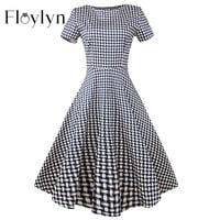 Floylyn Vestido Women Elegant Evening Retro Style Party 50s Style Hepburn Retro A-line Cotton Short Sleeved Plaid Dress