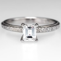 Emerald Cut Diamond Engagement Ring w/ Etched Shank Platinum