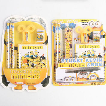 Creative Despicable Me Minions Cartoon Stationery Set Notebook Pencils Eraser Pencil Sharpener Ruler Gift Stationery