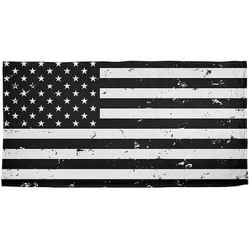 Black and White American Flag All Over Beach Towel