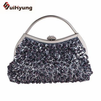 Suihyung Vintage Beaded Women Handbags Small Totes Ladies Wedding Party Evening Bags Purse Sequins Pearls Beading Clutch Bags
