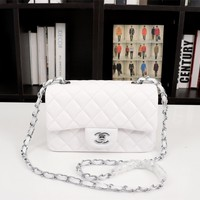 HCXX 19July 048 A1116 Chain Emboss Single Shoulders Bag Classic Logo size 20-12-7cm white sliver