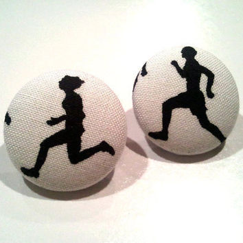 Olympic inspired track and field button earrings