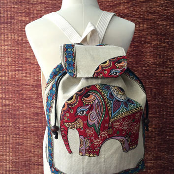 Red Elephant Backpack Tribal Boho Styles fabric Art Canvas Bohemian design Overnight travel bag Festival School bag Hippies Hipster gift