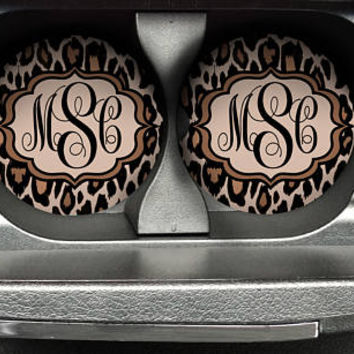 Personalized Monogrammed Car Coasters Leopard Cheetah, Cup Holder Coaster, Monogram Gift, Gift for Her Sandstone Coaster