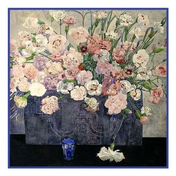 Charles Rennie Mackintosh's Pinks (Dianthus) Flowers Counted Cross Stitch or Counted Needlepoint Pattern