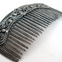 Vintage Sterling Silver Comb Brooch Pin with Marcasites
