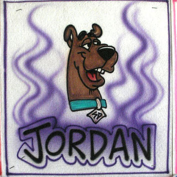 Airbrush Scooby Doo Name Tee Shirt or Long Sleeve