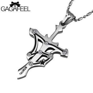 GAGAFEEL Men Women Titanium Stainless Steel Silver Color Cross Pendant Necklaces Crystal Fine Jewelry Zodiac Taurus Birthday