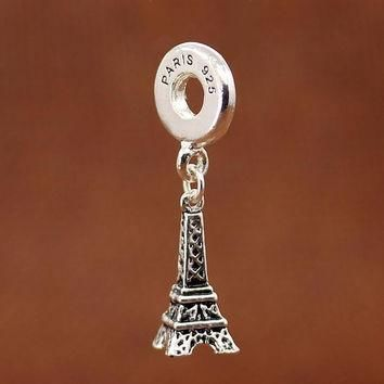 PARIS Eiffel Tower Pendants 925 Sliver Bead Fit pandora Charm Fit Women Diy Bracelets