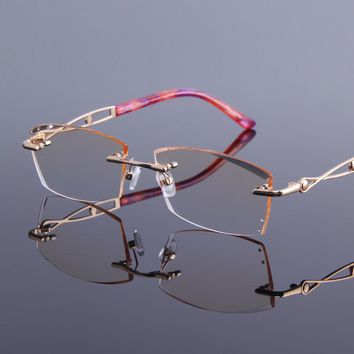 New Women's Rhinestone Reading Glasses Rimless Anti Reflective Alloy Frame Readers Eyeglasses For Presbyopia See Near Spectacles