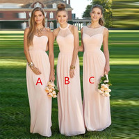 Women's Blush Light Pink Bridesmaid Dress 2017 vestido de la dama de honor Party Gown Wedding Prom Dress for Bridesmaid