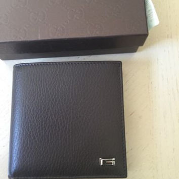 NWT $ 445 Gucci Genuine Leather Small Men's Wallet Dark Brown Italy