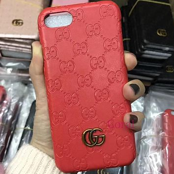 GUCCI leather iphone7plus mobile phone case protection iphone 6s / 8 / X wave female anti-drop cover i8 Red