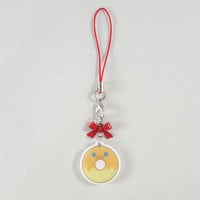 Pokemon, Charmander, donut, food, dessert, phone charm, cute, kawaii, anime, zipper charm, keychain, acrylic charm, orange