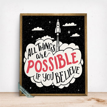 All Things Are Possible Print, Typography Print, Inspirational Quote, Motivational Poster, Wall Decor, Dorm Wall Art, Fathers Day Gift