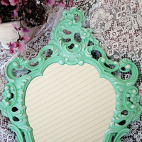 Shabby Chic Vintage Mirror Mint Green Large Ornate Ivory Highlights Nursery