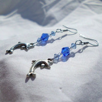 "Silver Dolphin Earrings with Blue & Clear Crystal Beads, ""Constance"""