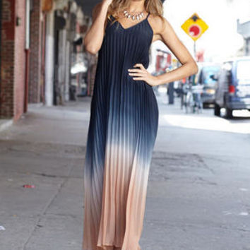 Hilary Pleated Ombre Maxi Dress