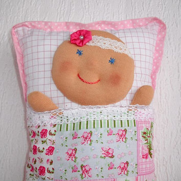 Baby doll, Pillow Doll, Rag Doll, Cloth doll, Doll cushion, Cuddling doll for toddlers, Handmade