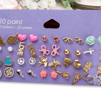 Claire fashion accessories stud earring pack set 20 pairs birdIcecream stars cross flower love heart gift for women brincos