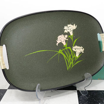 1970s Oval Serving Tray with Wrapped Handles . Avocado Green . White & Light Pink Carnations Flowers . Composite Bar Tray