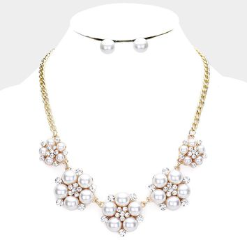 Round Crystal Rhinestone Pearl Cluster Evening Necklace