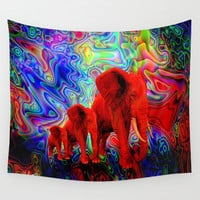 Psychedelic Pachyderms Wall Tapestry by JT Digital Art