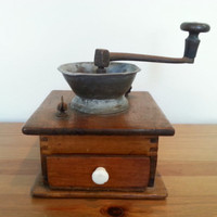 Vintage Coffee Grinder, Large Hand Crank Grinder with Drawer Compartment, Wood Kitchen Coffee Grind, FREE US Shipping