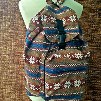 Festival Backpack Tribal Boho southwestern Styles Hill tribe Woven fabric Ethnic ikat design Overnight travel bag Hippies Men women in Brown