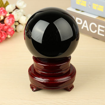"4"" Natural Black Obsidian Sphere Large Crystal Ball Healing Stone With Wood Stand For Home Holiday Gift Craft Ornament"