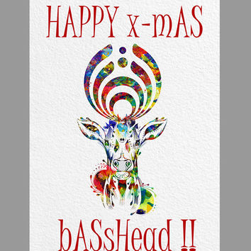 Printable Bassnectar CHRISTMAS CARD Instant Download Happy X-Mas, Basshead! digital print instant download basshead digital card