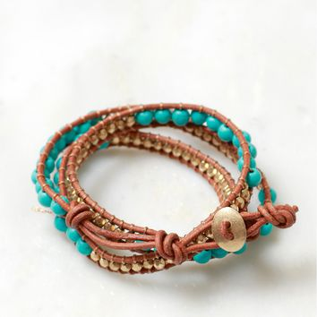 Beaded Wrap Bracelet Teal/Gold/Brown