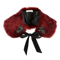 River Island Womens Red faux fur embellished collar