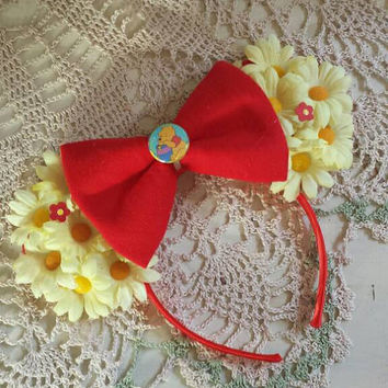 Winnie the pooh inspired Flower Ears with bow
