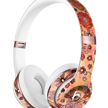 Floral Pattern on Orange Watercolor Full-Body Skin Kit for the Beats by Dre Solo 3 Wireless Headphones