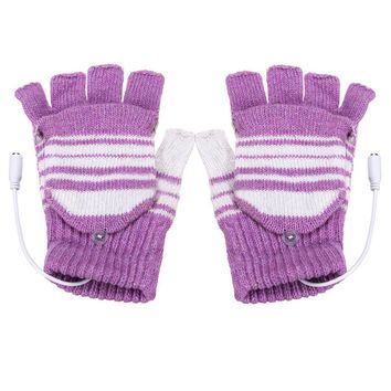 New 5V USB Powered Heated Winter Hand Warmer Half Finger Washable Gloves Xmas Gift, Purple