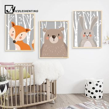 Cartoon Rabbit Fox Bear Animal Nursery Posters and Prints Wall Art Canvas Painting Nordic Decorative Wall Pictures For Baby Kids