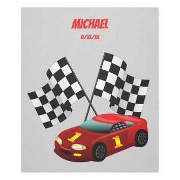 Red Race Car, Checkered Flag, Personalized, Custom Fleece Blanket
