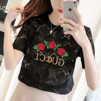 One-nice™ GUCCI Chiffon shirt short sleeves Hollowed-out lace embroidered tunic top