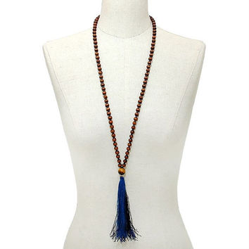 Gold, Brown, Montana Blue Thread Tassel Drop Wood Bead Long Necklace